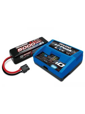 Traxxas 2996X Battery/charger completer pack (includes #2971 EZ-Peak Live iD charger, 2889X 5000mAh 14.8V 4-cell 25C LiPo battery | Produktansicht Traxxas POWER PACK EZ-Peak Live Ladegerät EU Version + 1x ID LiPo 14,8V 5000mah 25C